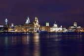 Image of Liverpool skyline at night.